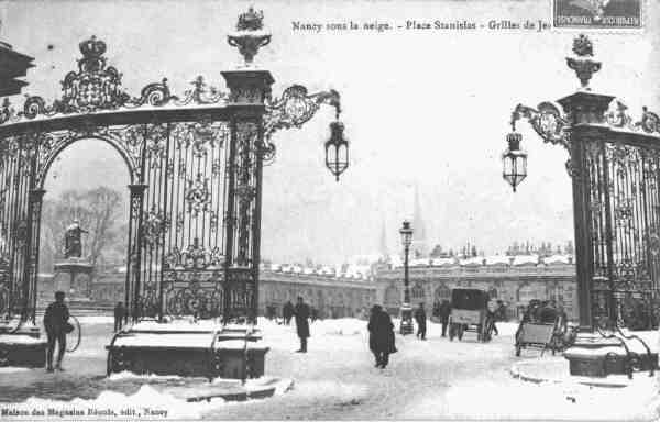 Nancy - place Stanislas sous la neige (carte postale)